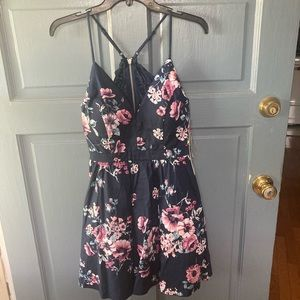 Navy Floral Dress NWT